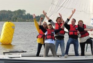 Zeiluitje met het team op de grens van Noord- en Zuid-Holland