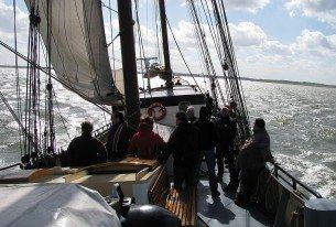 Genieten van het uitzicht aan boord